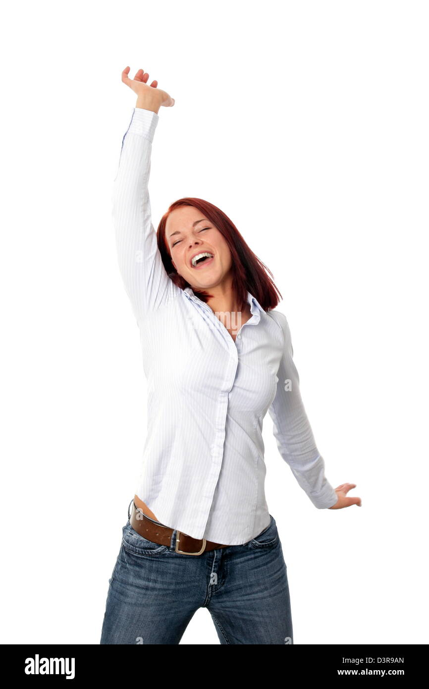 Happy crazy young woman jumping - Stock Image