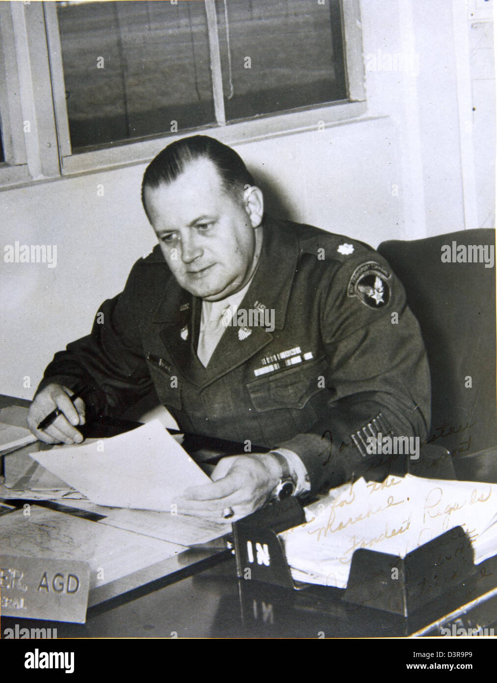 Capt. Forrest Blalock Special Collection Photo Picture is signed, ''Forrie, Thinking up another job for - Stock Image