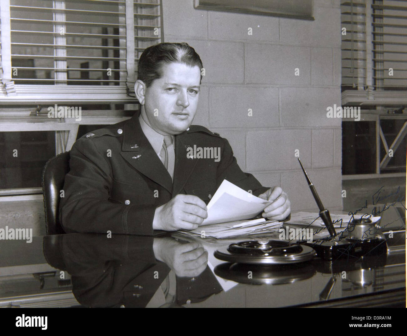 Capt. Forrest Blalock Special Collection Photo Picture is signed, ''To a very good friend Major Blalock, - Stock Image