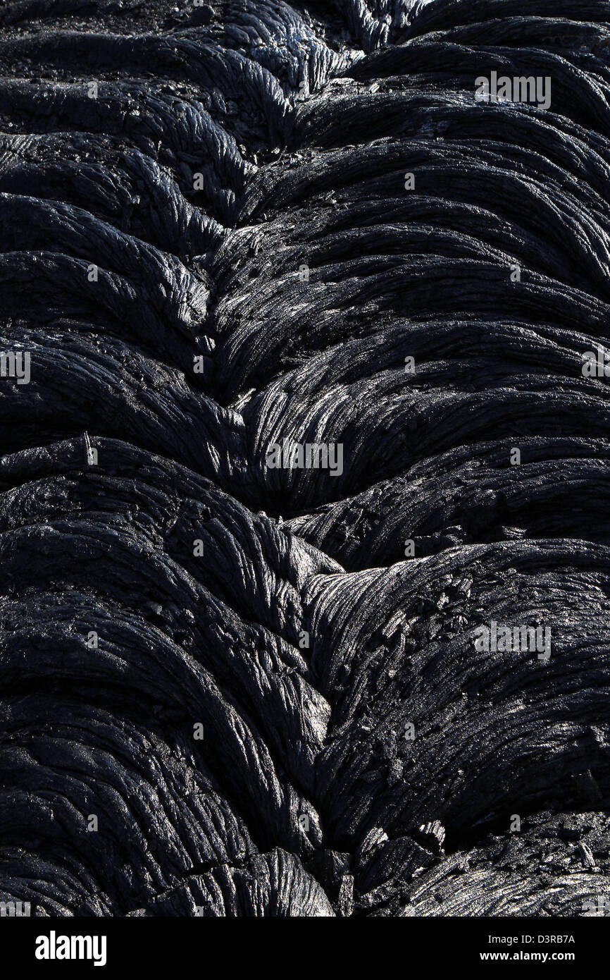 recent Pahoehoe lava from Kilauea Volcanoes National Park Hawaii - Stock Image