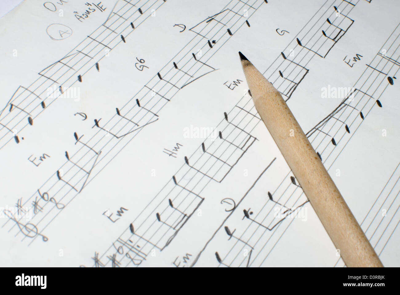 detail of a handwritten note sheet and a pencil - Stock Image