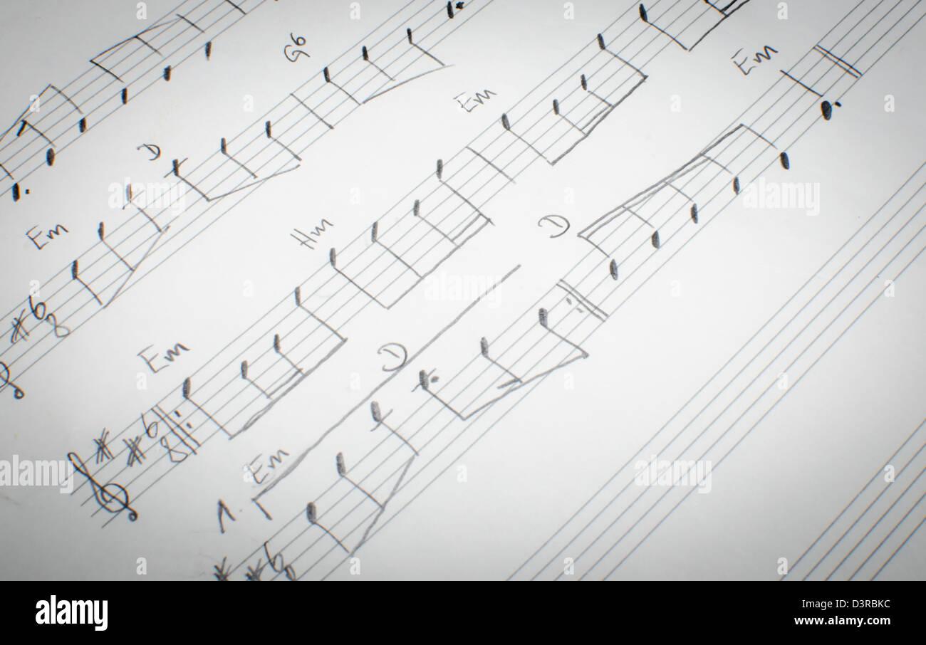 detail of a handwritten note sheet - Stock Image