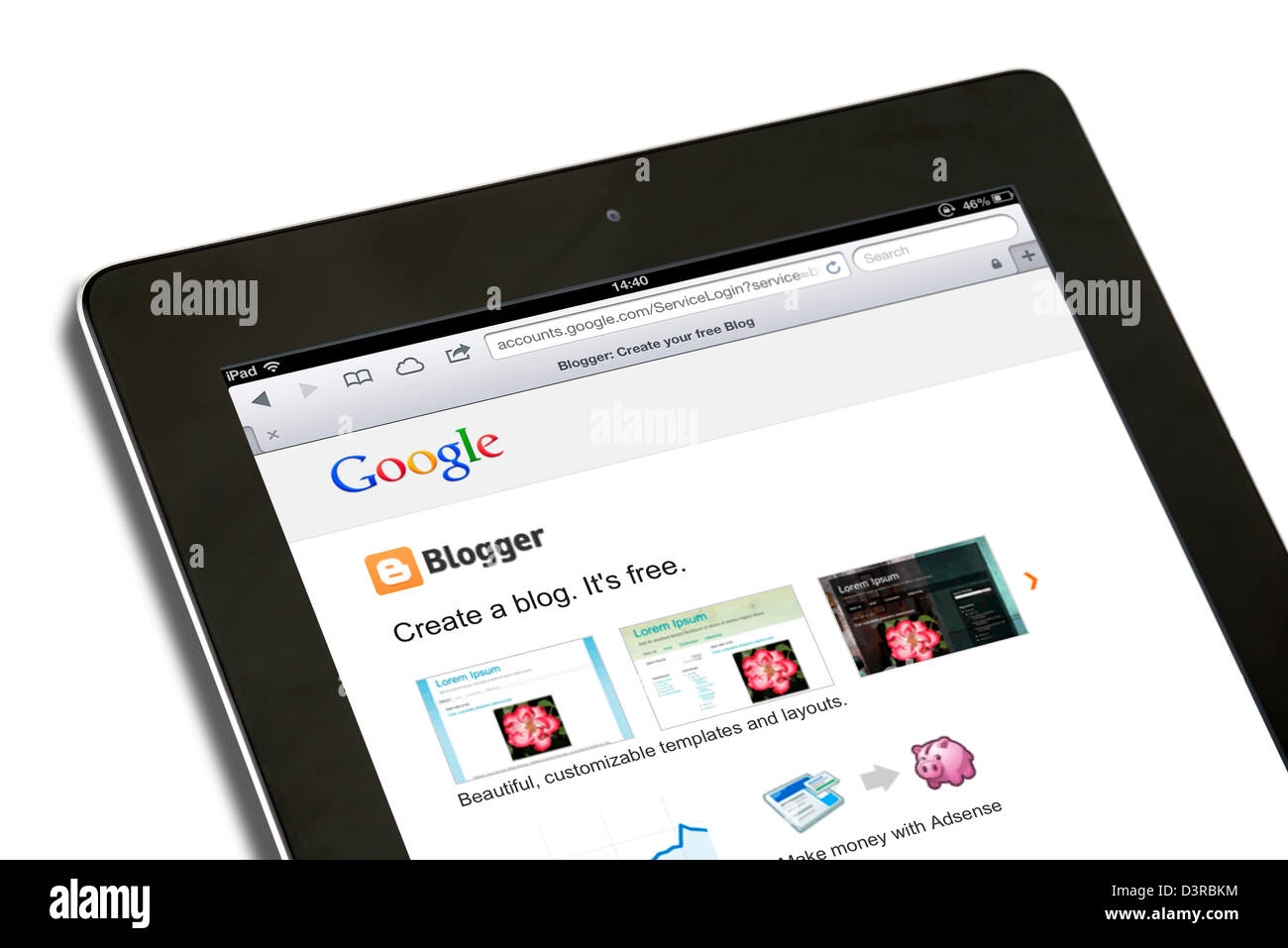 Creating a blog through Google's Blogger site on a 4th generation iPad - Stock Image