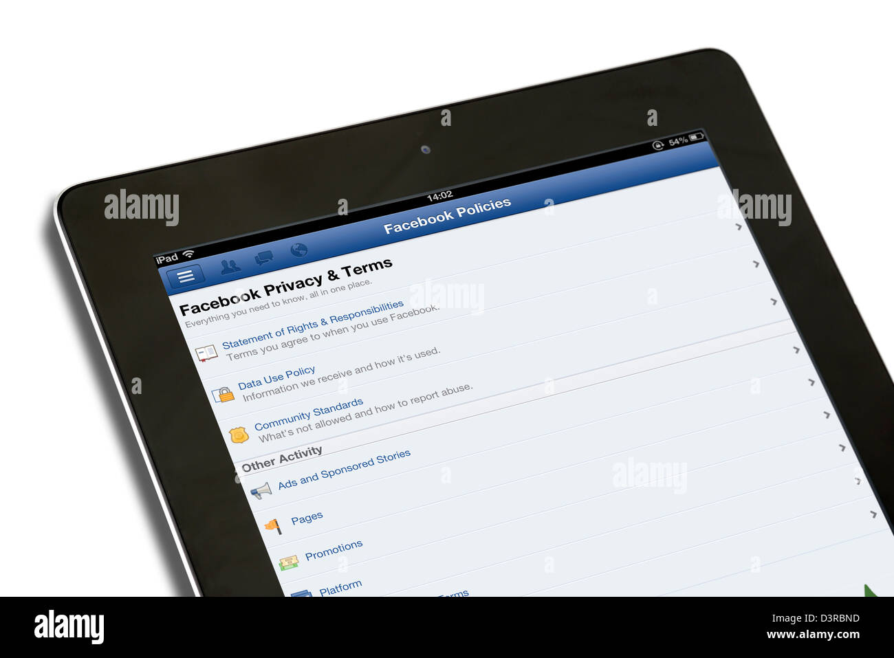 Facebook Privacy and Terms on the Facebook Policies page, viewed on a 4th generation iPad - Stock Image