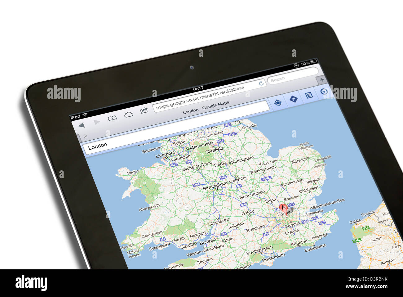 Using Maps on Google.co.uk viewed on a 4th generation iPad - Stock Image