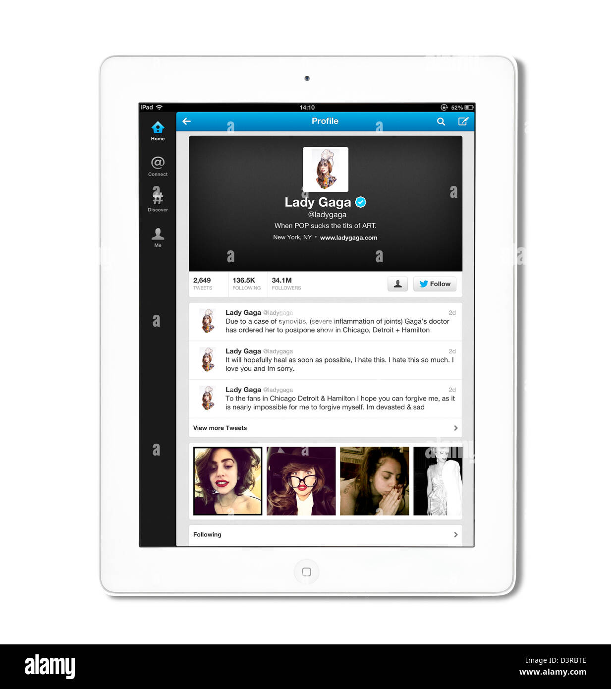 The pop singer Lady Gaga's Twitter profile page viewed on an iPad. Lady Gaga is at the top of the list of most - Stock Image