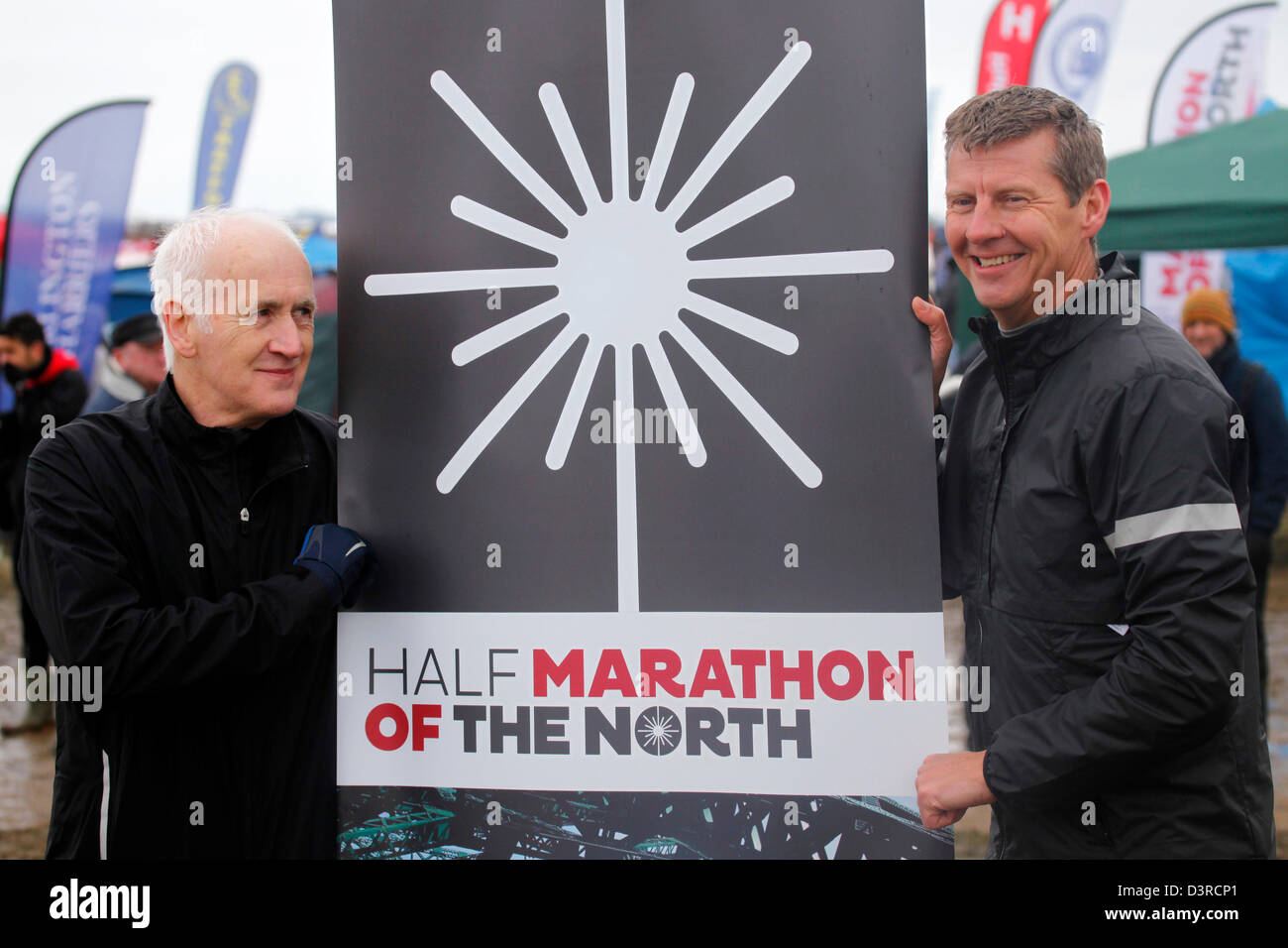 Terry Deary and Steve Cram publicise the Marathon of the North. They attend the 2013 National Cross Country Championships - Stock Image
