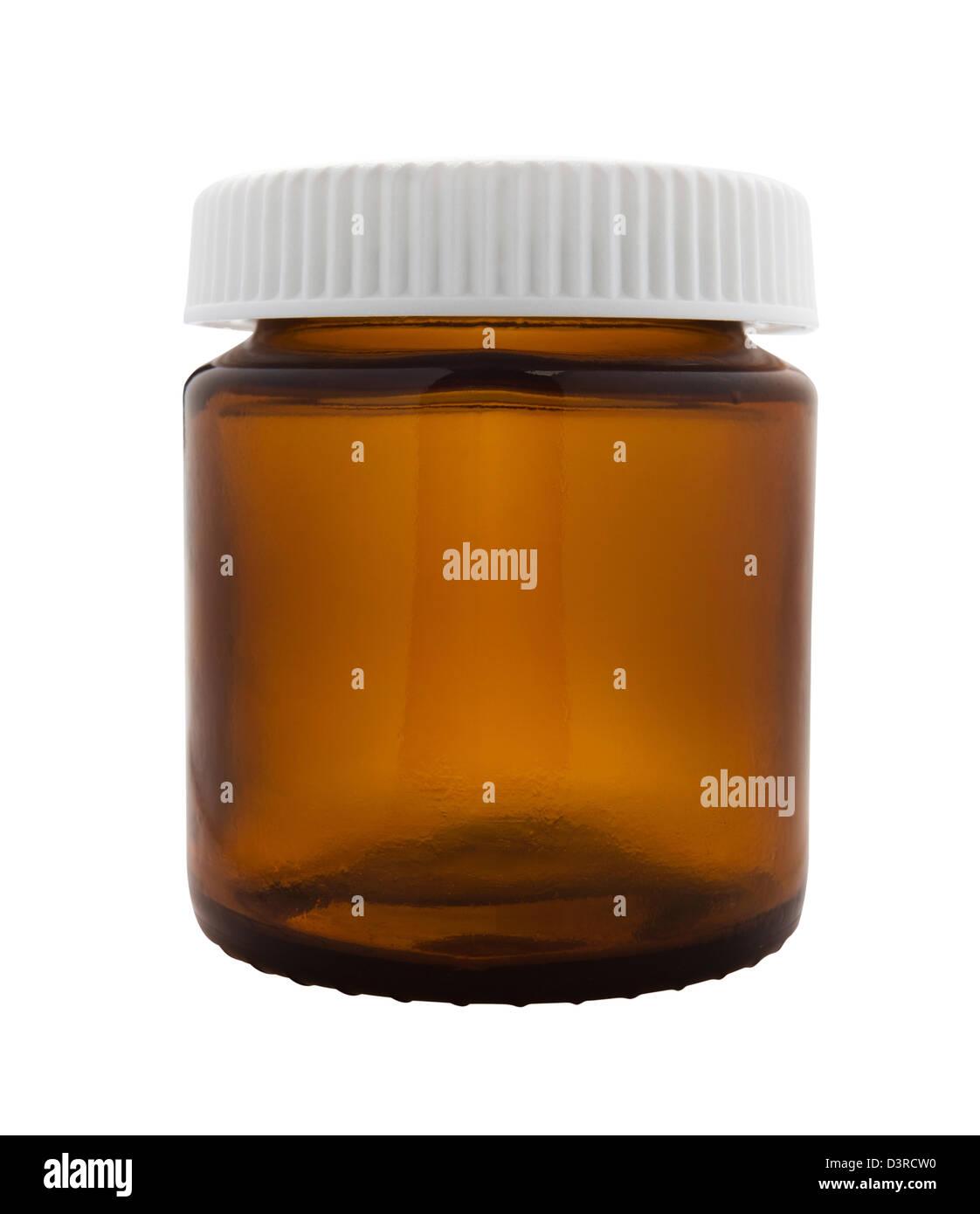 bottle medicine on white background - Stock Image