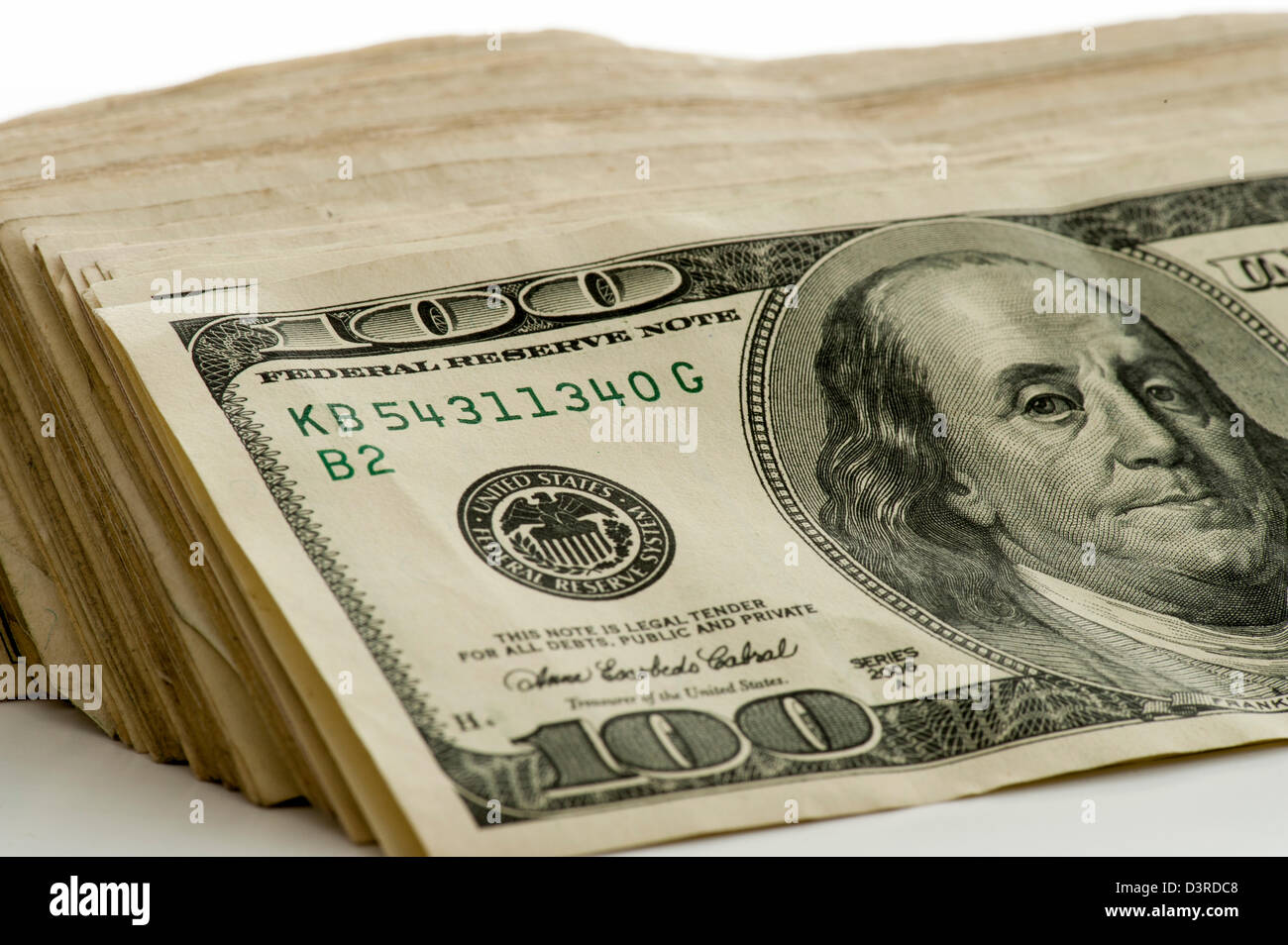 closeup view of stack of US $100 bills money - Stock Image