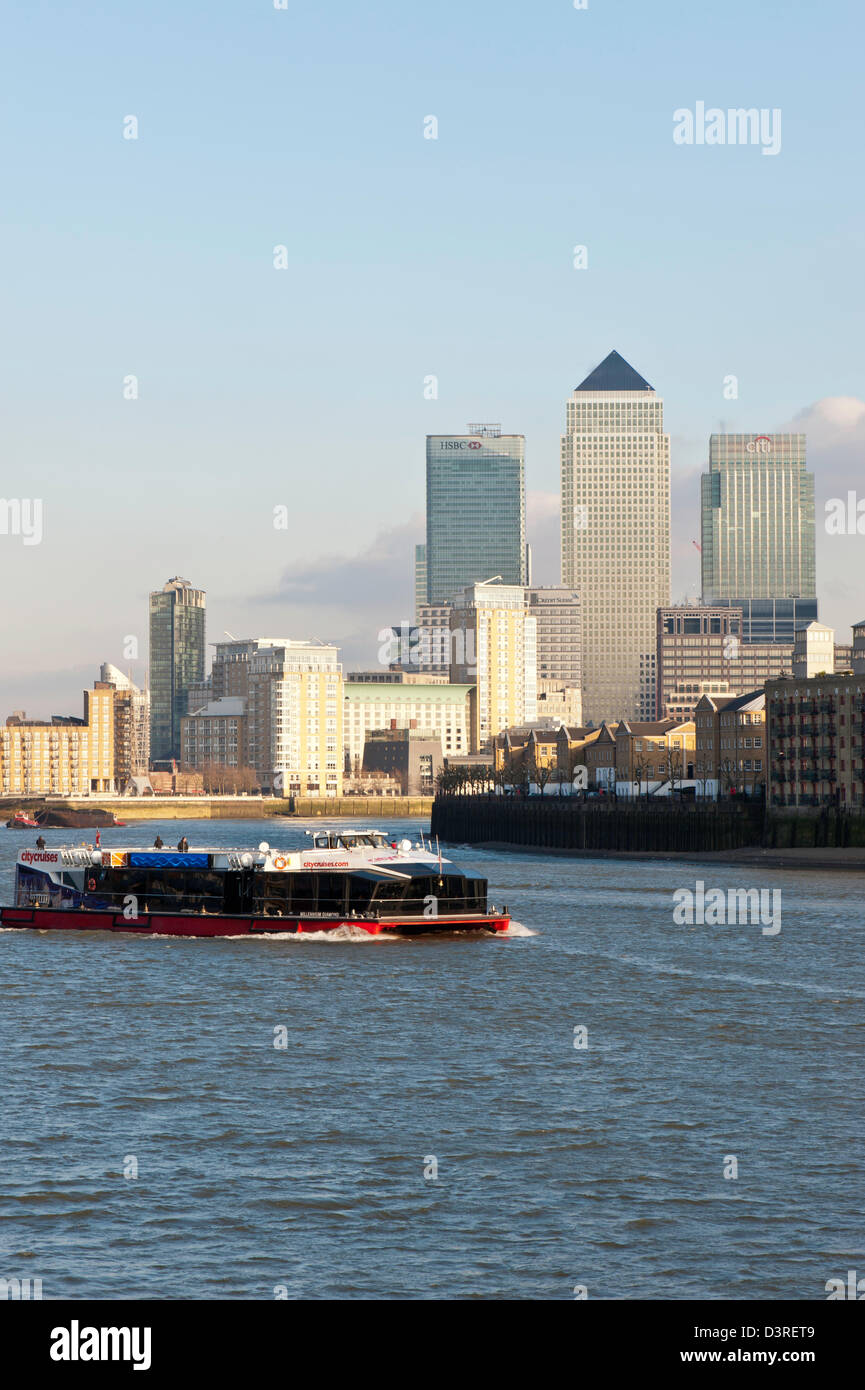 Docklands seen from across Thames River, London, United Kingdom - Stock Image
