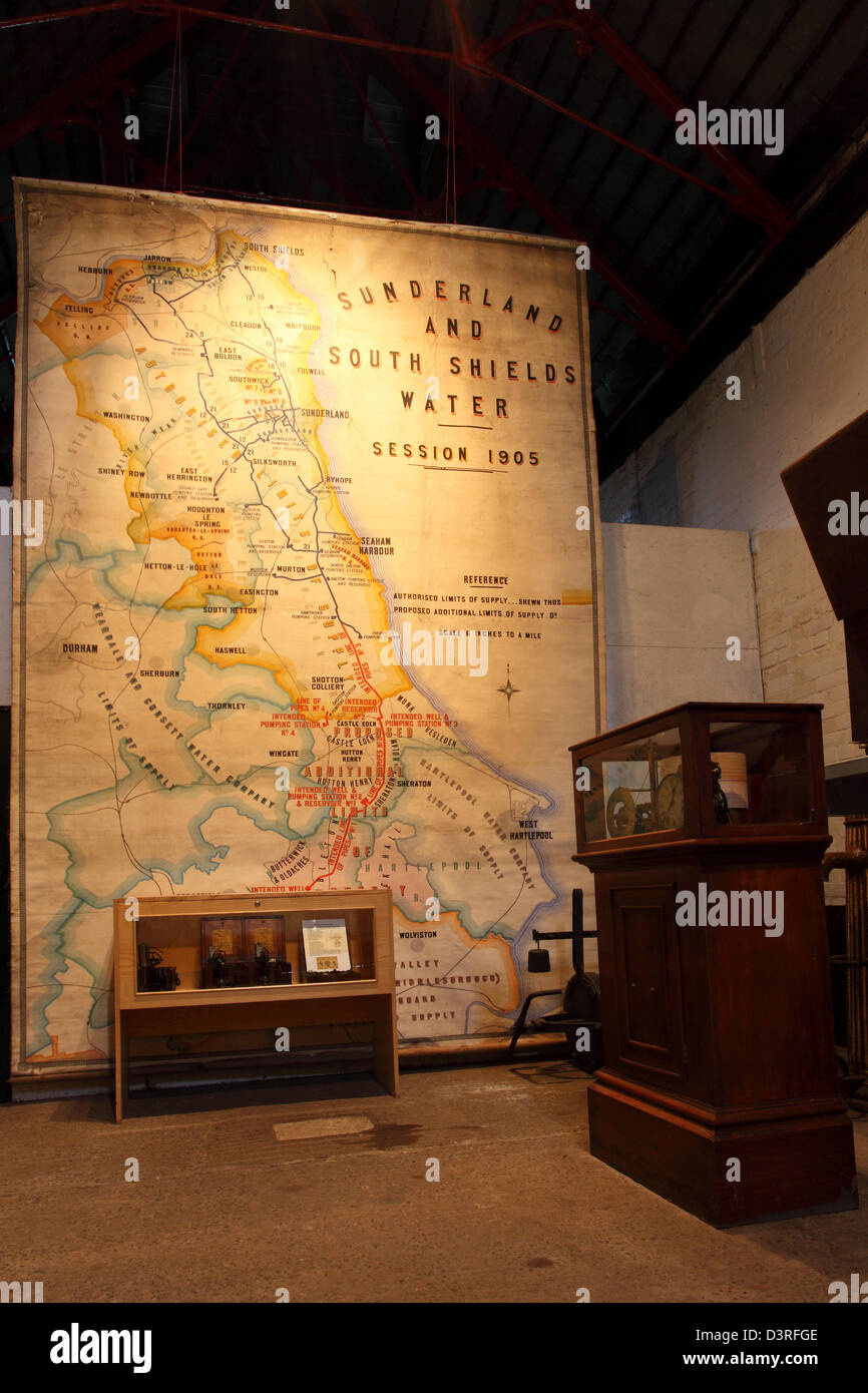 Edwardian map of the North-East of England at Ryhope Pumping Station in Sunderland. - Stock Image