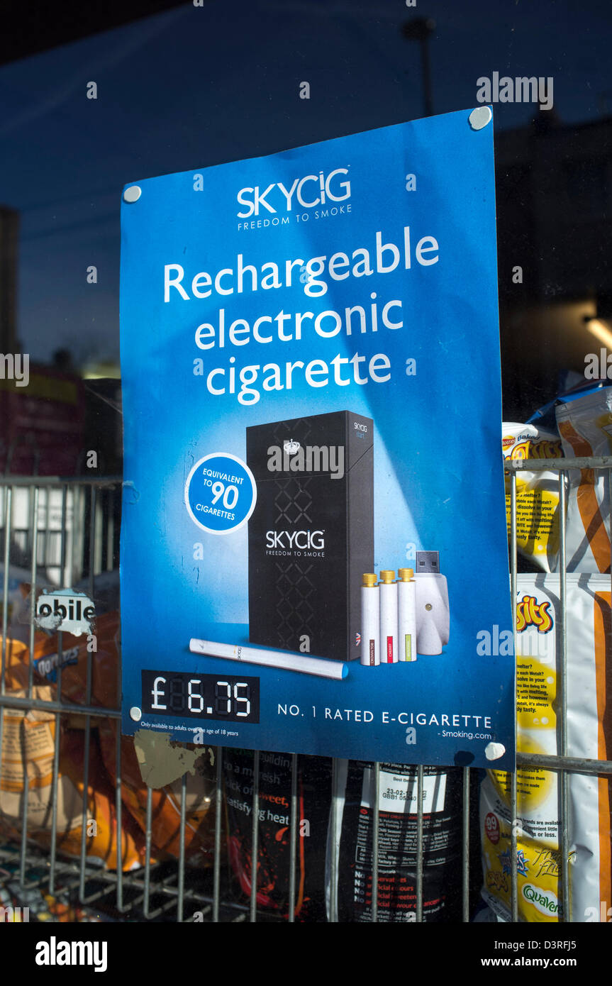 Rechargeable Electronic Cigarette Advert - Stock Image