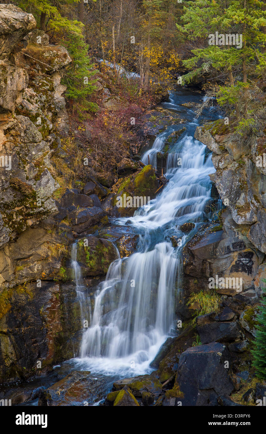 Crystal Falls on the Little Pend Oreille River; Crystal Falls State Park, northeast Washington. - Stock Image