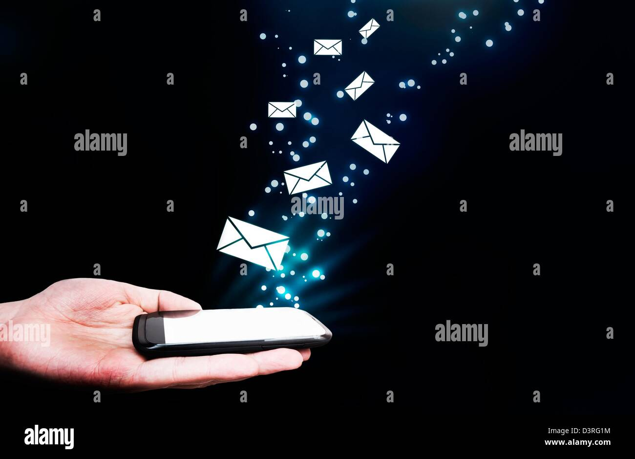 Abstract, touching mobile phone, flying envelopes  Message