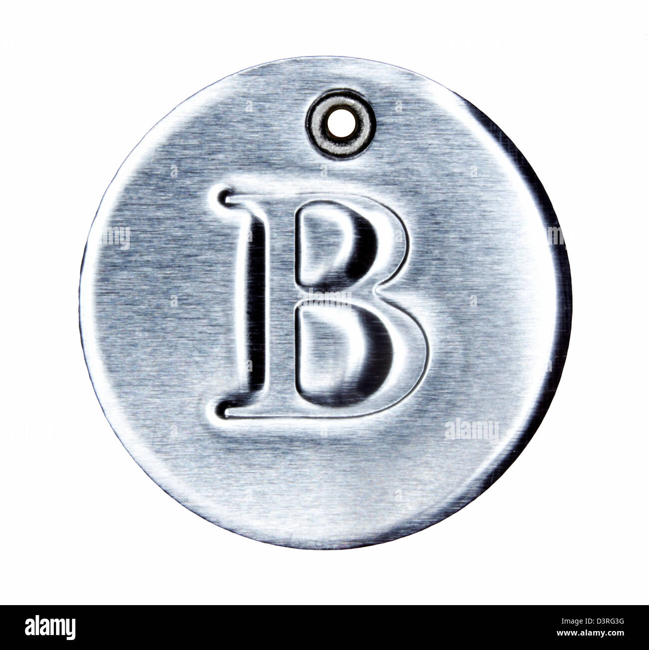 Brushed metal letter of the alphabet B - Stock Image
