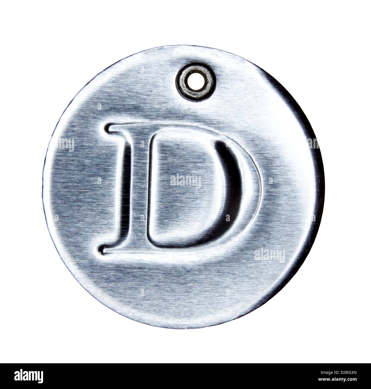 Brushed metal letter of the alphabet D - Stock Image