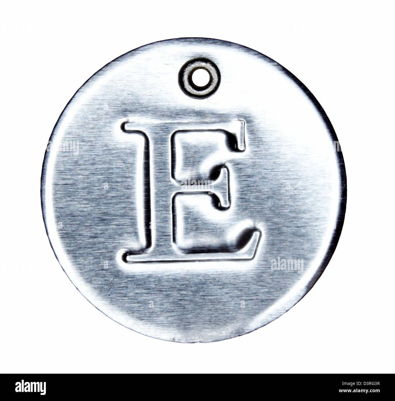 Brushed metal letter of the alphabet E - Stock Image