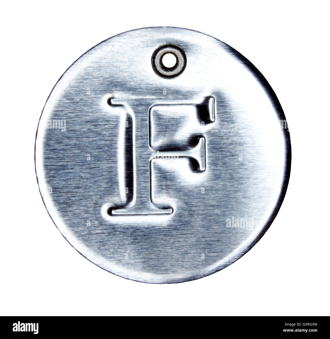 Brushed metal letter of the alphabet F - Stock Image
