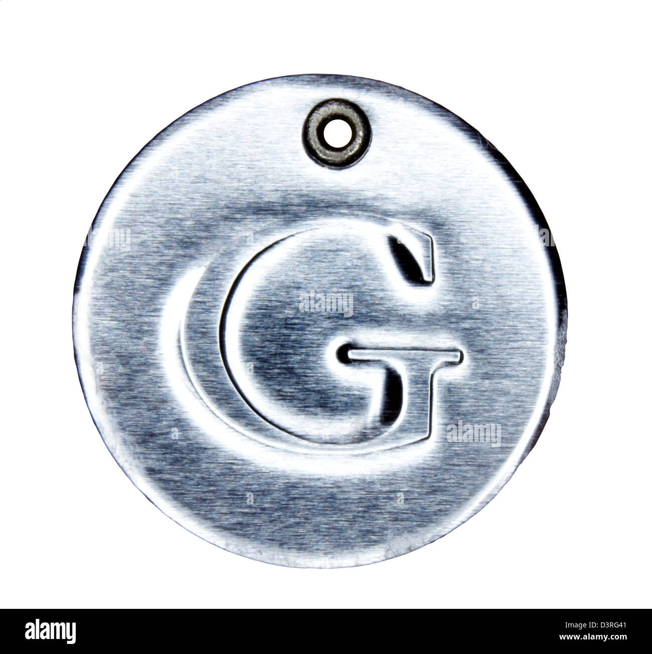 Brushed metal letter of the alphabet G - Stock Image