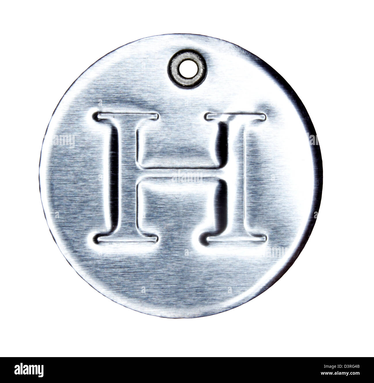 Brushed metal letter of the alphabet H - Stock Image