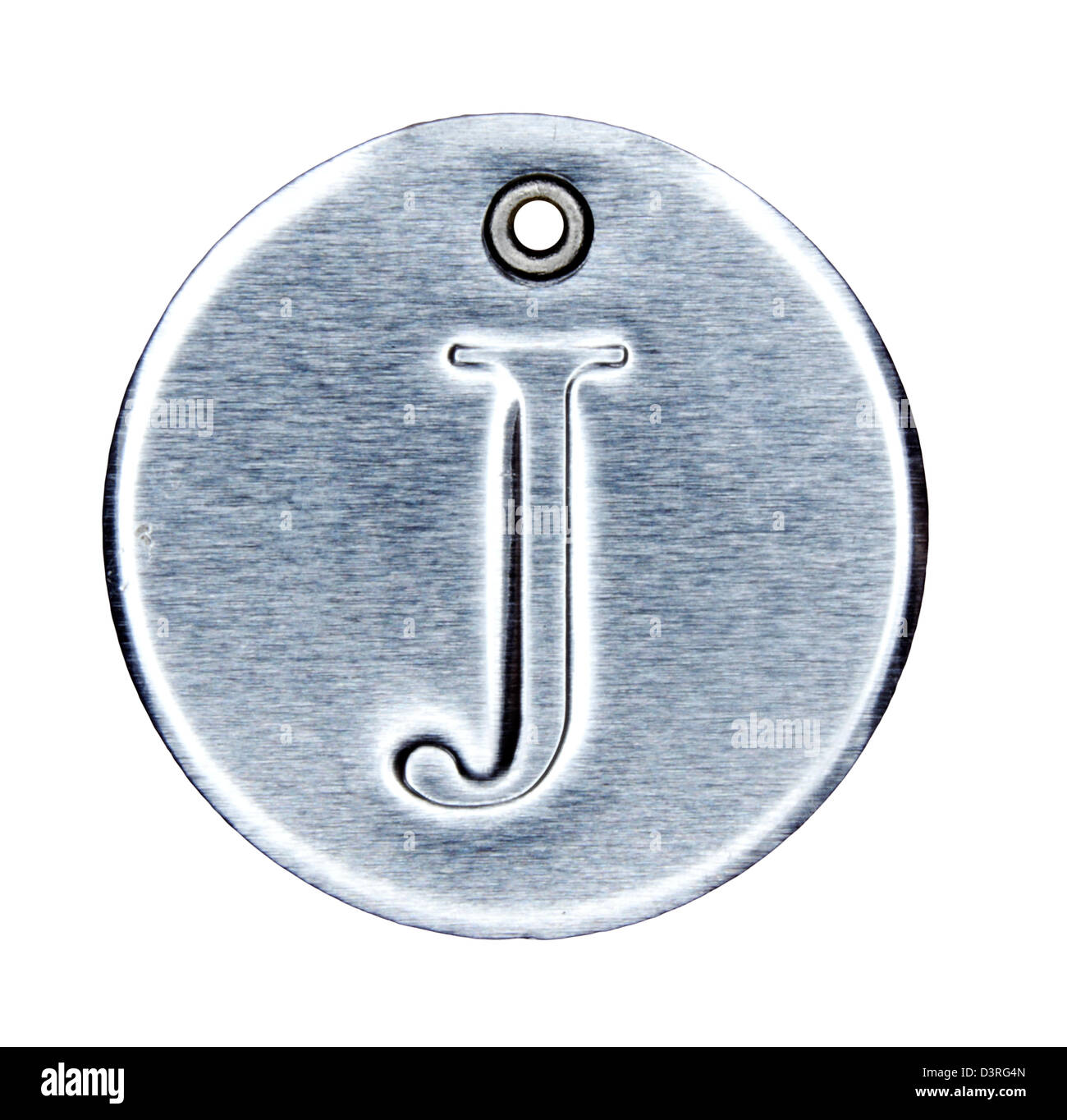 Brushed metal letter of the alphabet J - Stock Image