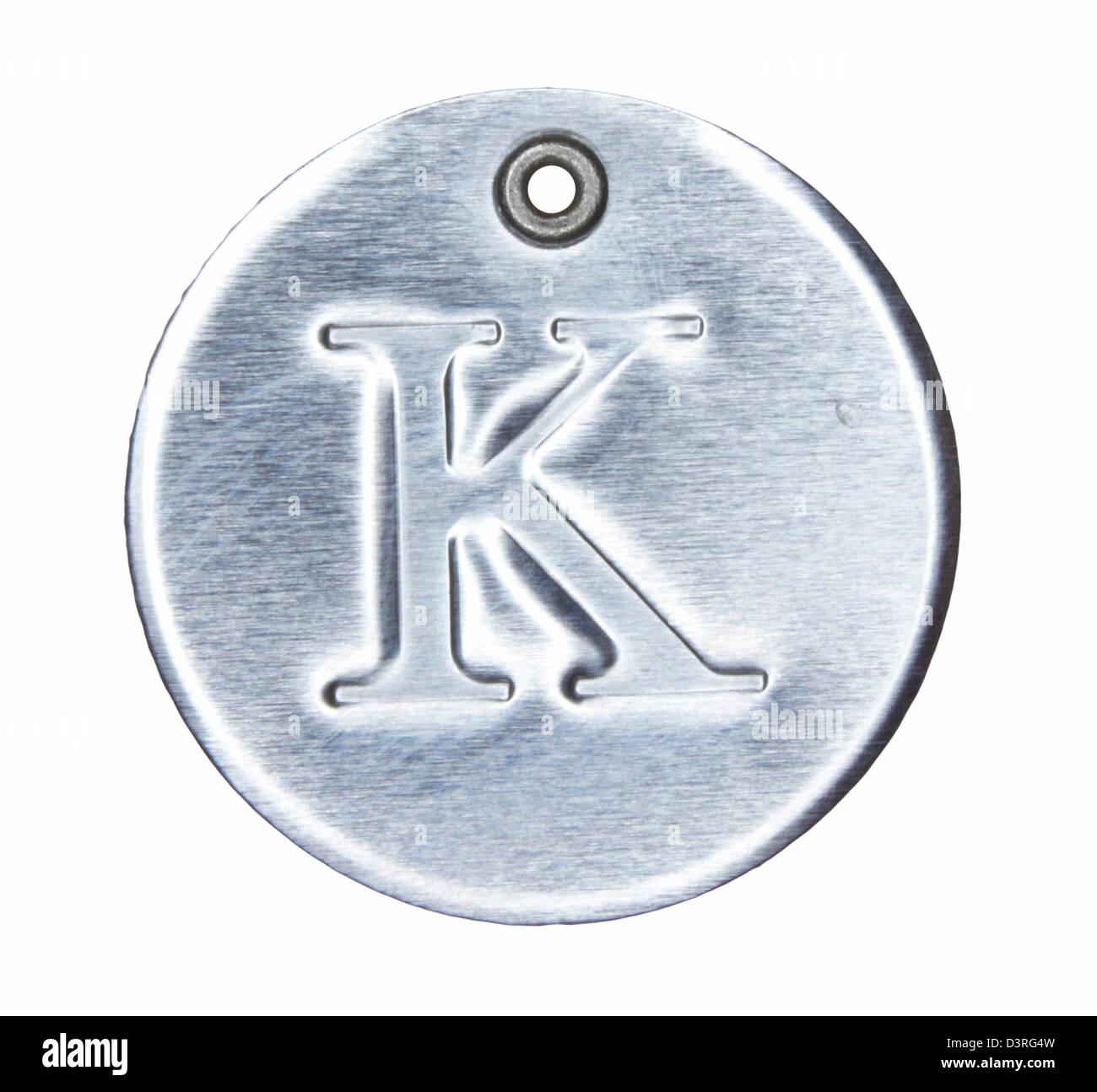 Brushed metal letter of the alphabet K - Stock Image
