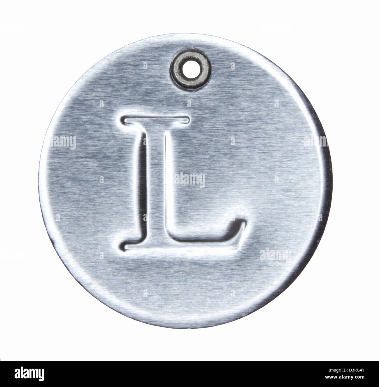 Brushed metal letter of the alphabet L - Stock Image
