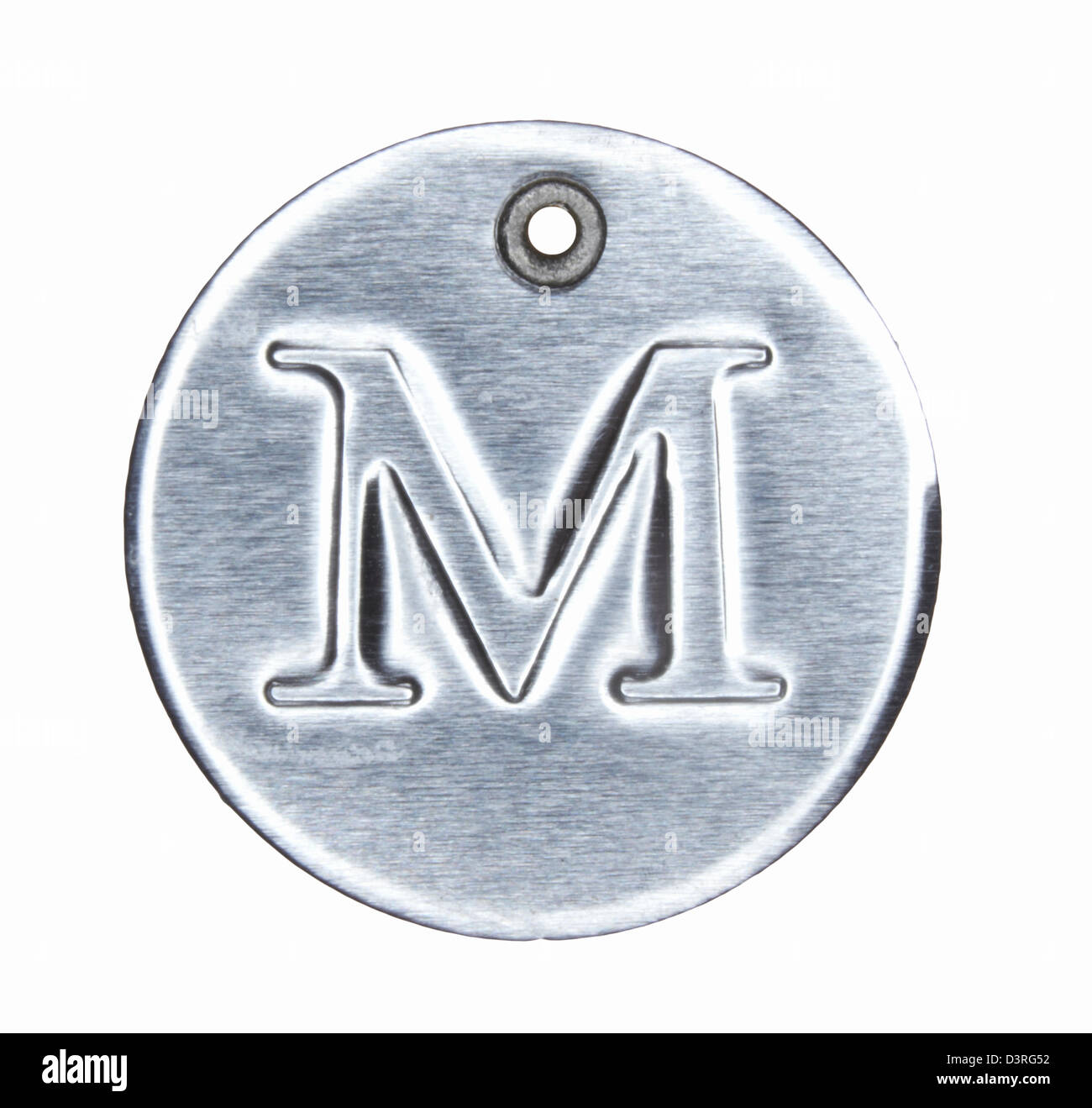 Brushed metal letter of the alphabet M - Stock Image