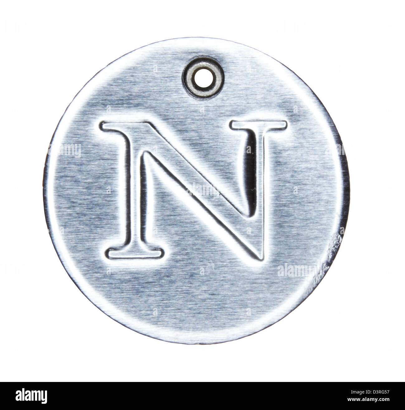 Brushed metal letter of the alphabet N - Stock Image