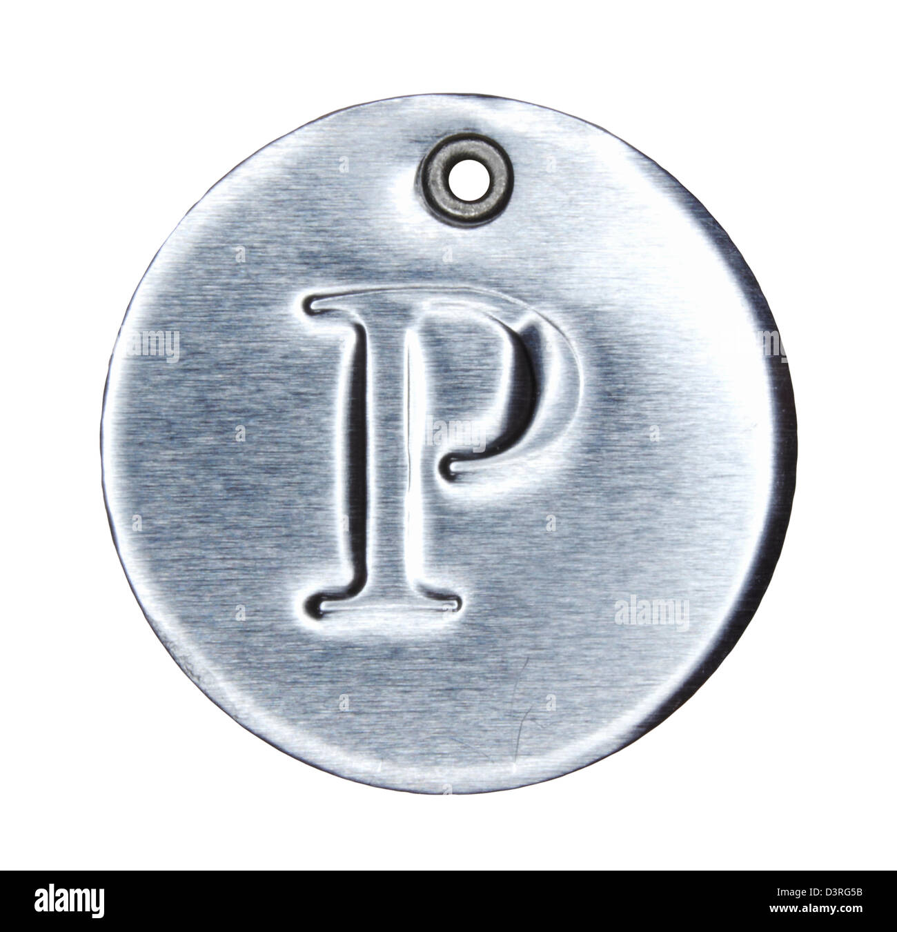Brushed metal letter of the alphabet P - Stock Image
