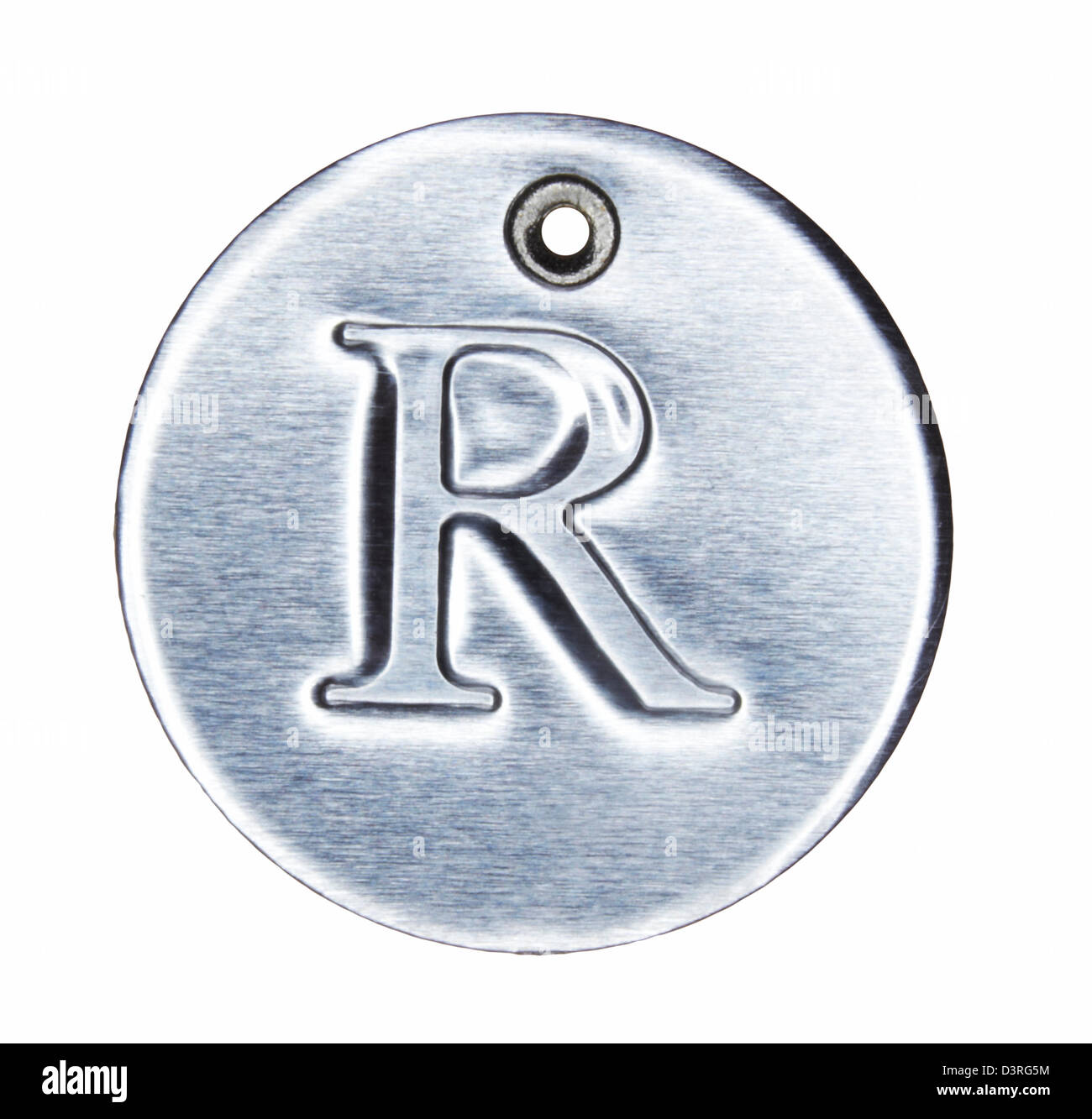 Brushed metal letter of the alphabet R - Stock Image