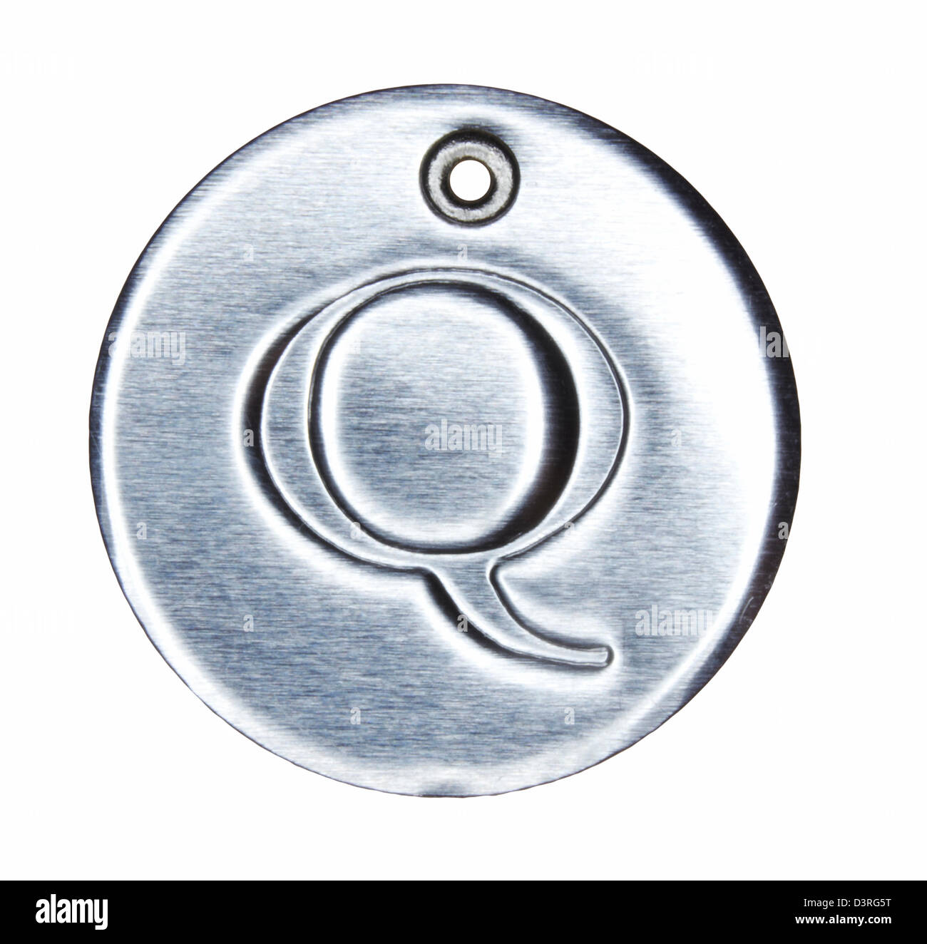 Brushed metal letter of the alphabet Q - Stock Image