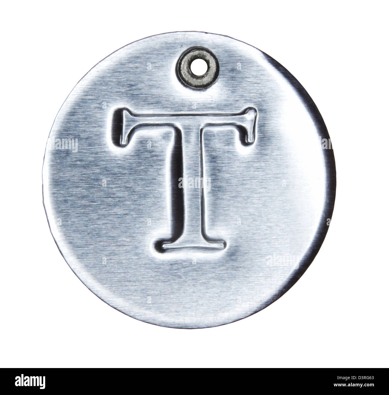 Brushed metal letter of the alphabet T - Stock Image