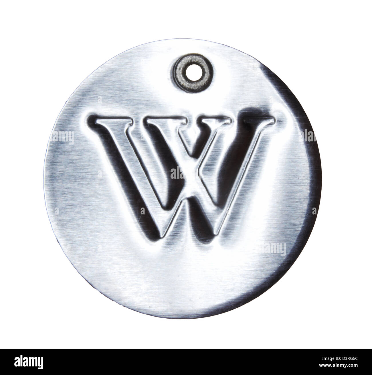 Brushed metal letter of the alphabet W - Stock Image