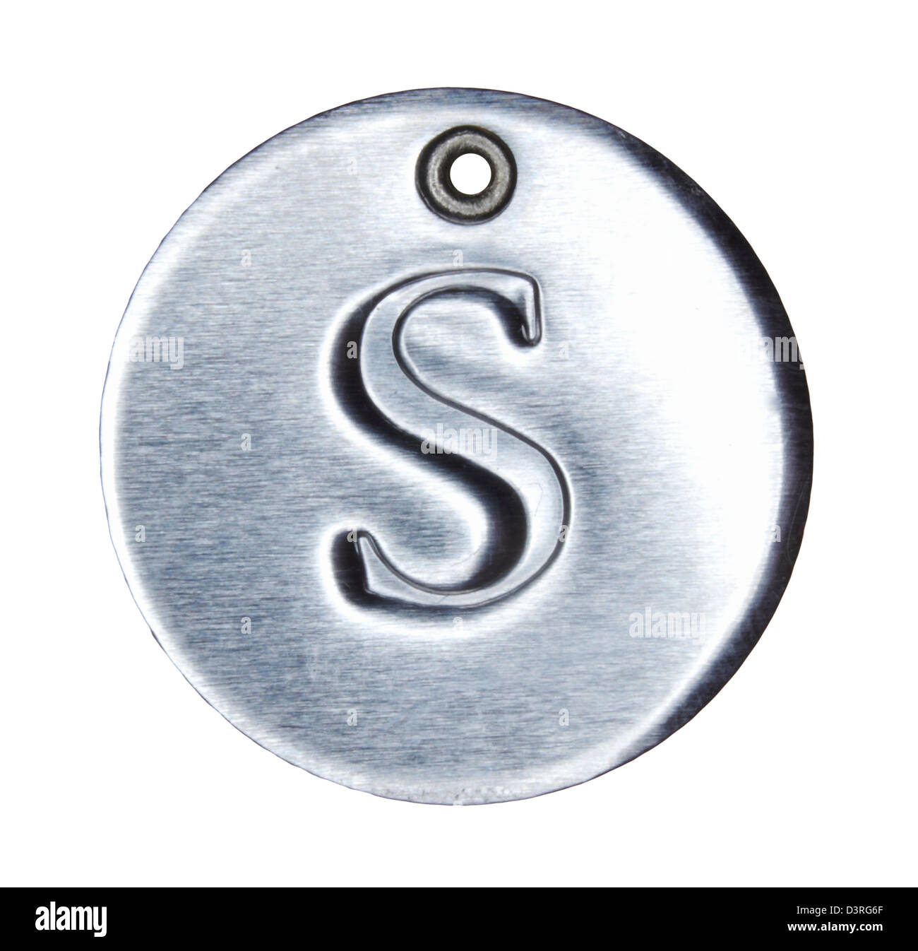 Brushed metal letter of the alphabet S - Stock Image