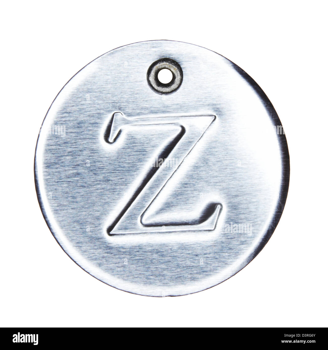 Brushed metal letter of the alphabet z - Stock Image