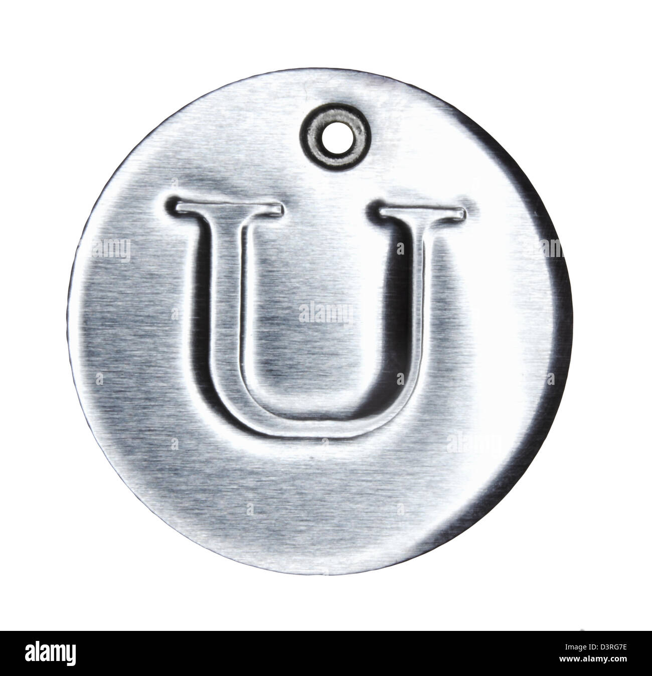 Brushed metal letter of the alphabet U - Stock Image
