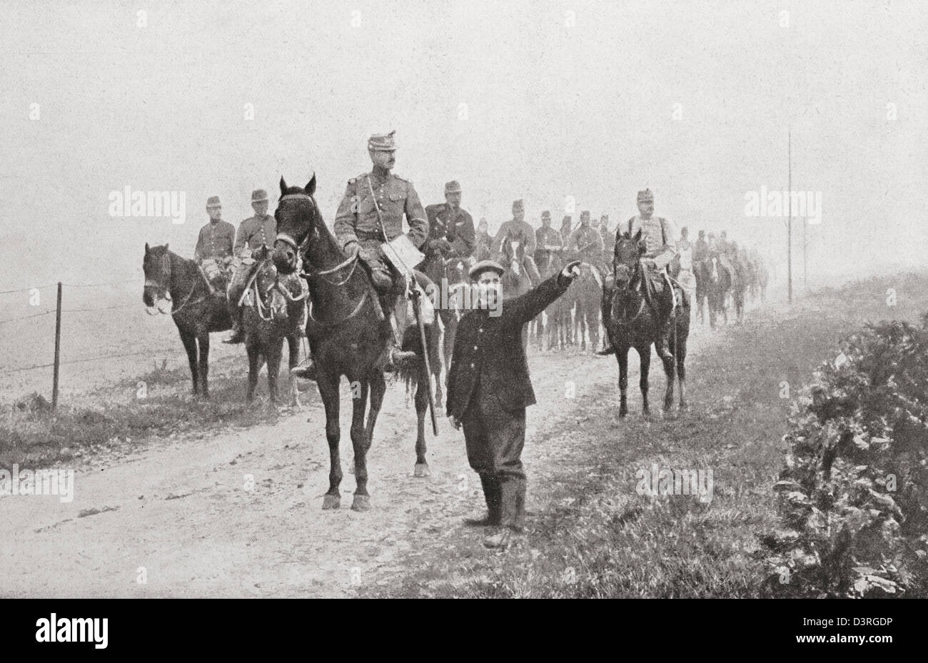 French horsemen in the Somme during the First World War. - Stock Image