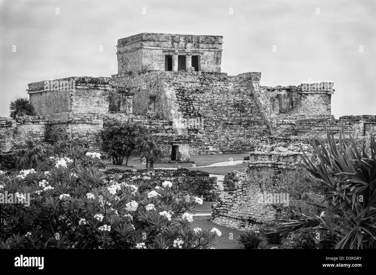 El Castillo at Tulum Maya ruins, Yucatan Peninsula, Mexico. - Stock Image
