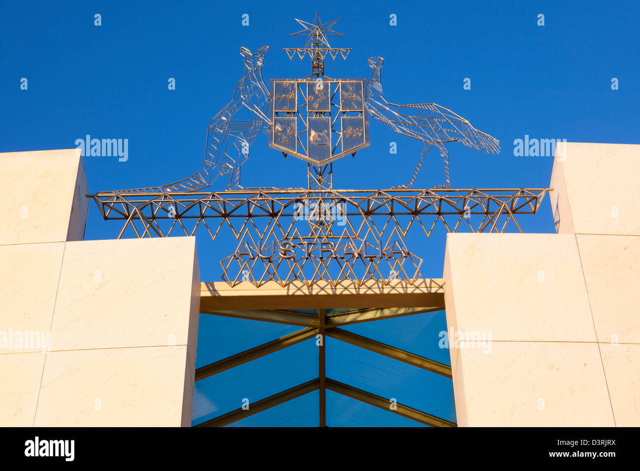 Australian coat of arms adorning the entrance to Parliament House. Canberra, Australian Capital Territory (ACT), - Stock Image