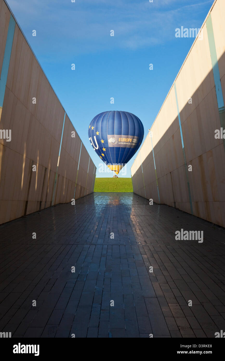 View of hot air balloon from the marble walkway at Commonwealth Place. Canberra, Australian Capital Territory (ACT), - Stock Image