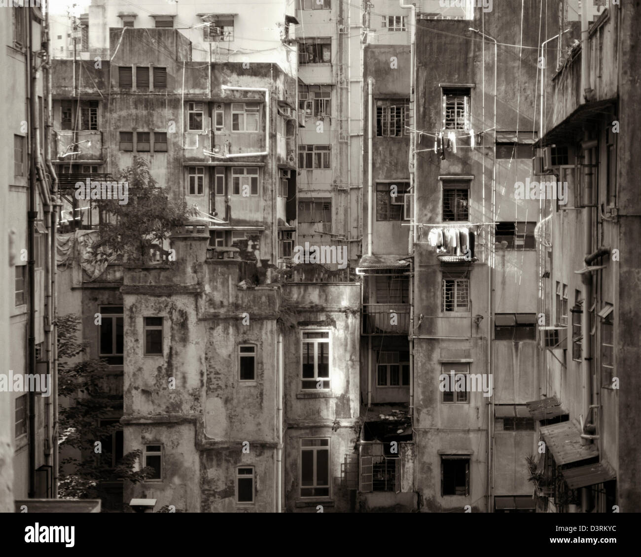 50's Housing in Central, Hong Kong - Stock Image
