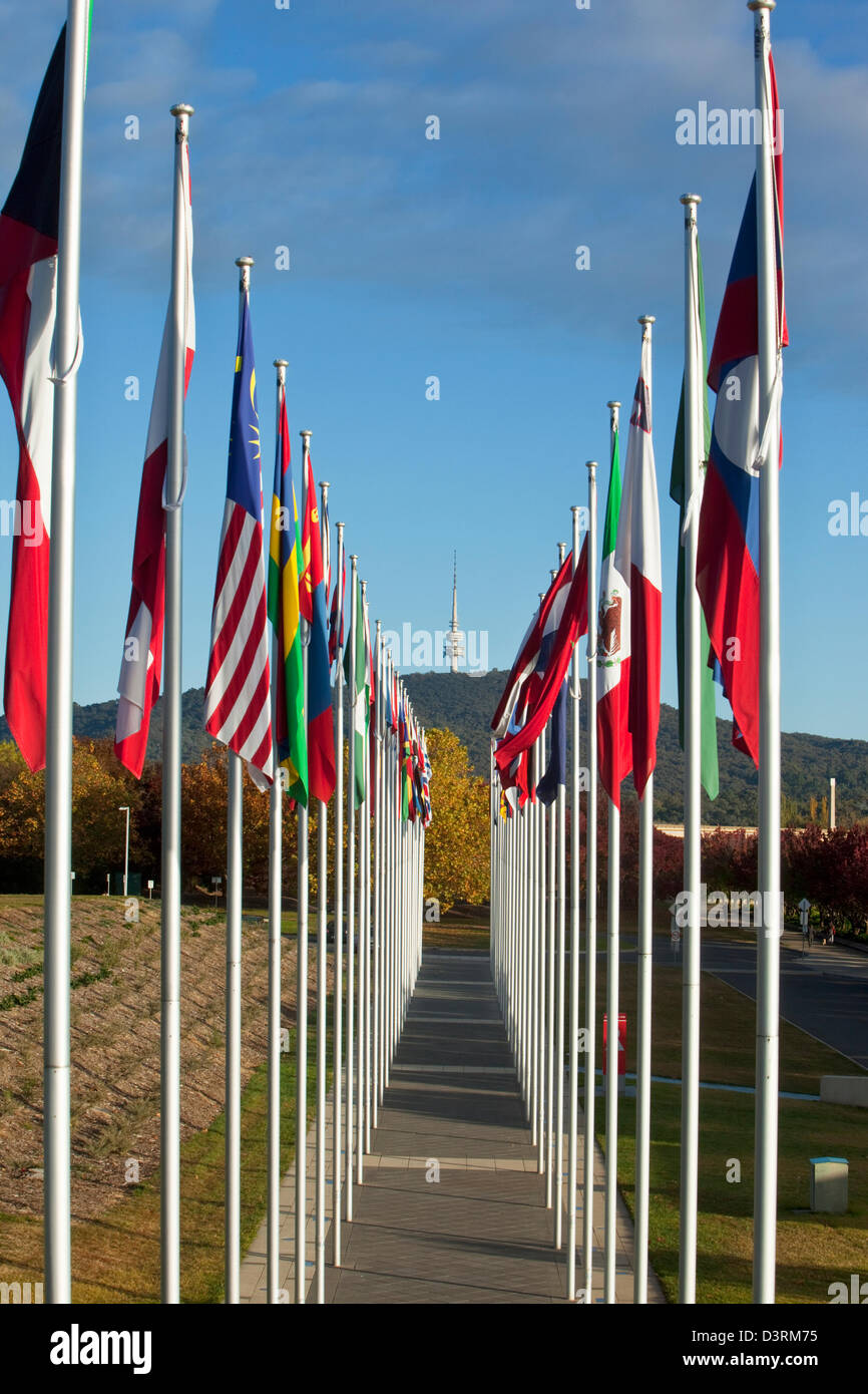 View along international flag display at Commonwealth Place.  Canberra, Australian Capital Territory (ACT), Australia - Stock Image