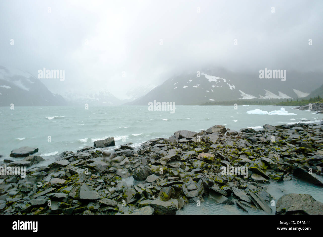 View out large windows, Boggs Visitor Center, Portage Lake, Portage Glacier, Chugach National Forest, Portage, Alaska, - Stock Image