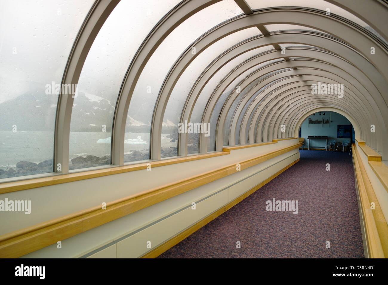 Boggs Visitor Center, Portage Lake, Portage Glacier, Chugach National Forest, Portage, Alaska, USA - Stock Image