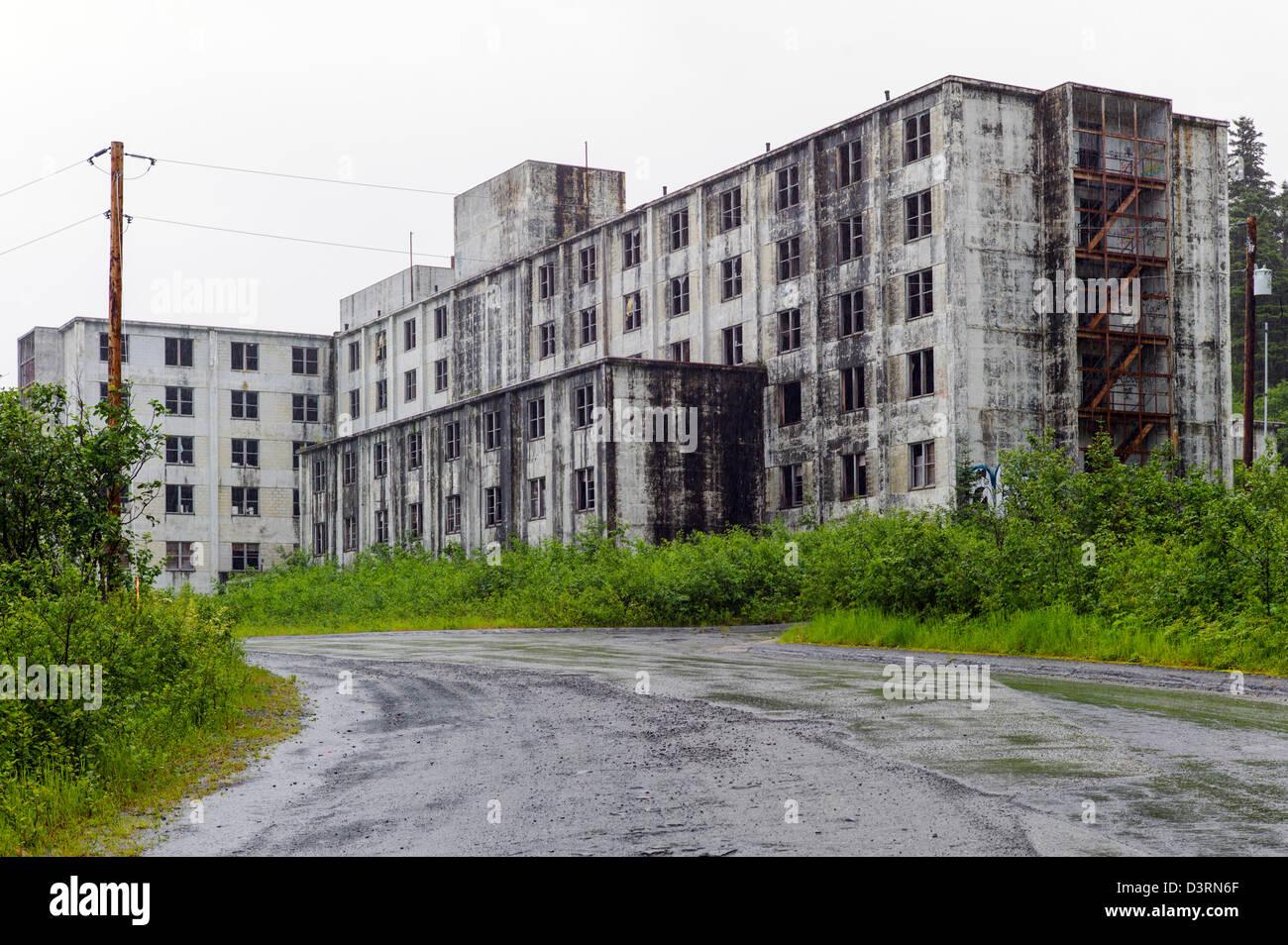 Historic Buckner Building, once the largest building in Alaska, Whittier, Alaska, USA.  Now abandoned, full of asbestos. - Stock Image
