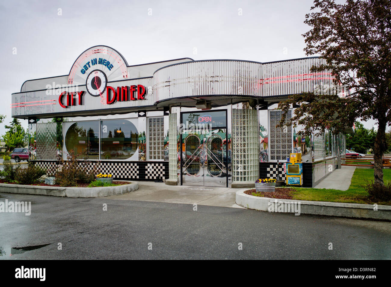 Exterior view of retro design stainless steel City Diner, Anchorage, Alaska, USA - Stock Image