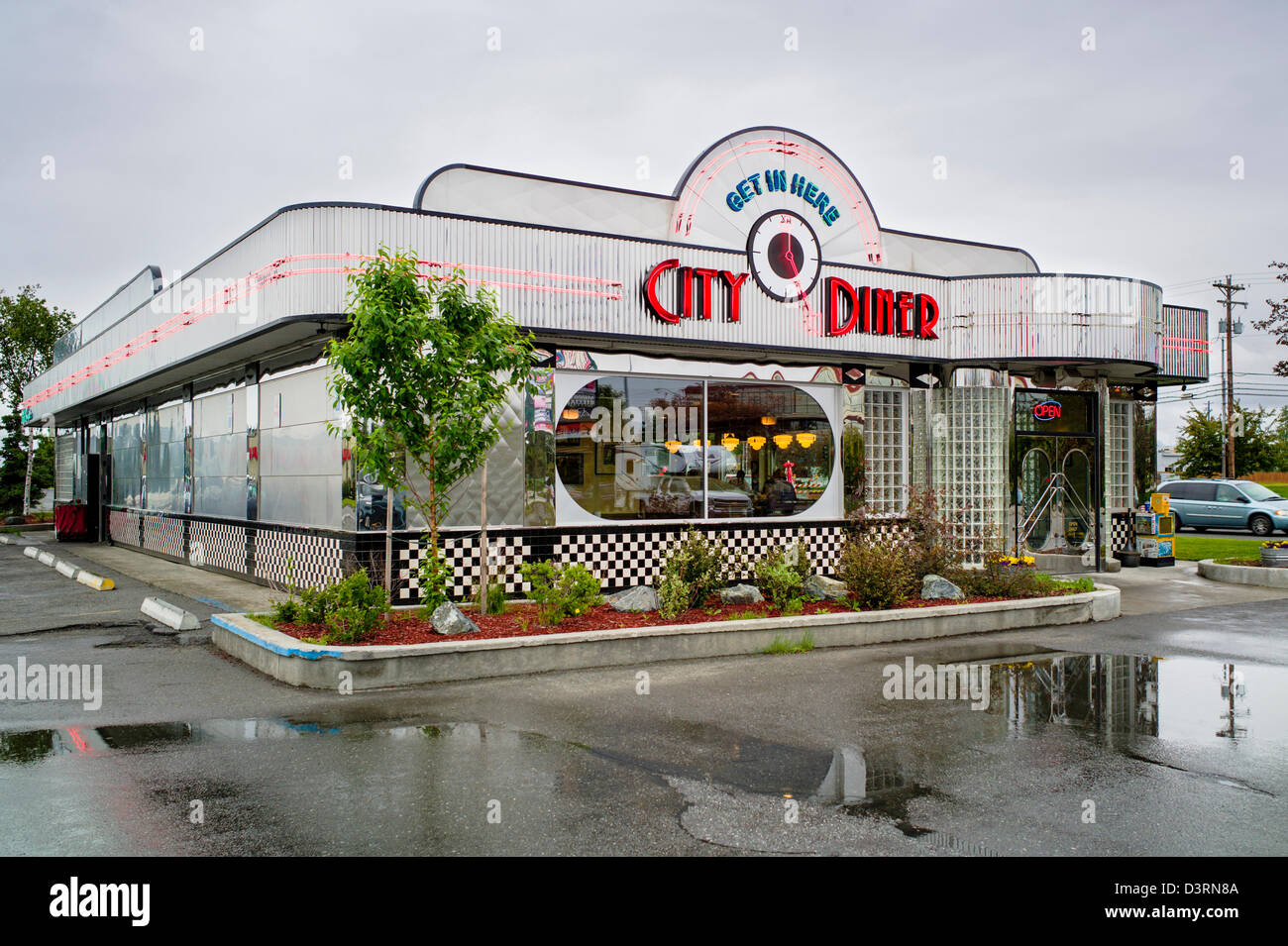 exterior view of retro design stainless steel city diner anchorage stock photo 53996666 alamy. Black Bedroom Furniture Sets. Home Design Ideas