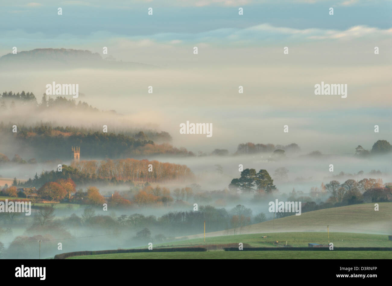 the tower of St Mary's Church at Dartington bathed in the first light of a winter's morning. Stock Photo