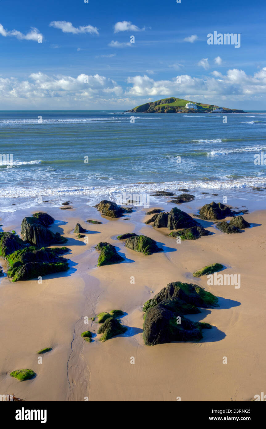 A bright winter's afternoon - looking towards Burgh Island - from the Avon Estuary cliffs at Bantham - Stock Image